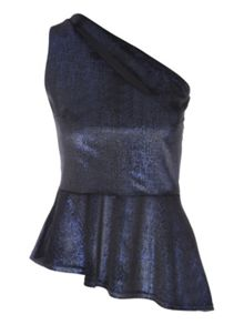 Jane Norman Velvet One Shoulder Peplum Top
