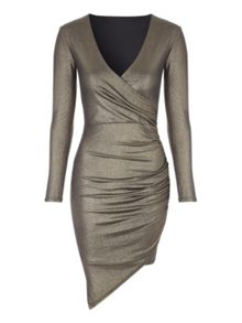 Jane Norman Gold Metallic Wrap Dress
