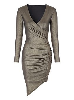 Gold Metallic Wrap Dress