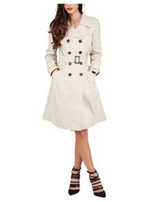 Beige Pleated Button Trench Coat