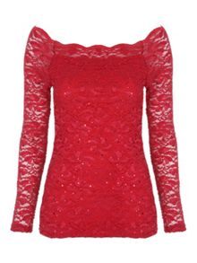 Jane Norman Sequin Bardot Top