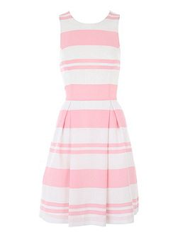 Paint Stripe Pleated Midi Dress