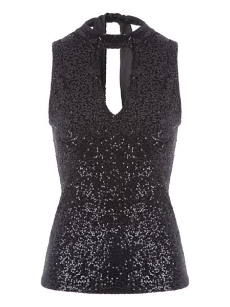 Jane Norman Sequin Halter Top