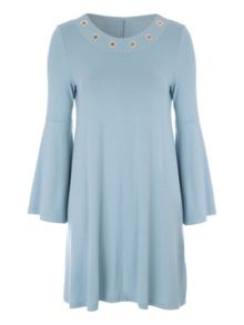 Jane Norman Bell Sleeve Rivet Dress