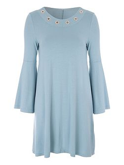 Bell Sleeve Rivet Dress