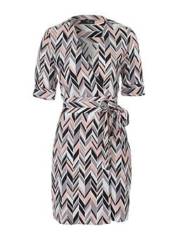 Geo Chevron Wrap Shirt Dress