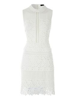 White Lace Panels Sleeveless Dress