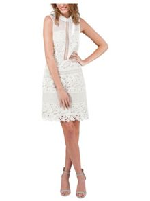 Jane Norman White Lace Panels Sleeveless Dress