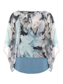 Jane Norman Printed Chiffon Drape Top