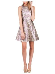 Jane Norman Gold Metallic Jacquard Short Dress