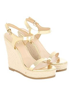 Gold Metallic Leather Stack Wedges