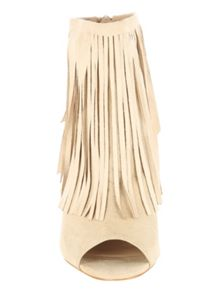 Jane Norman Peep Toe Fringe Boot Heel