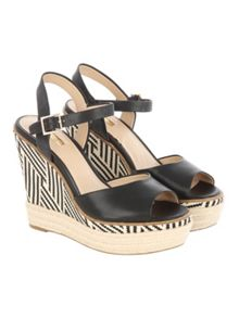 Jane Norman Black Mono Printed Wedged Heels