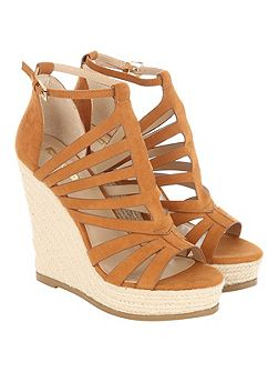 Tan Faux Suede Cage Wedged Heels
