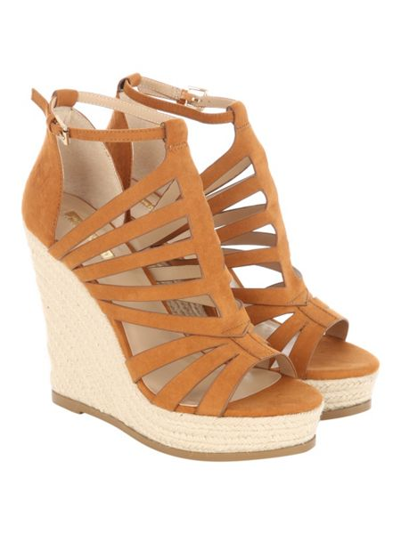 Jane Norman Tan Faux Suede Cage Wedged Heels