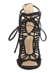 Black Weave Caged Faux Suede Heels