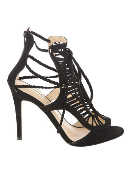 Jane Norman Black Weave Caged Faux Suede Heels