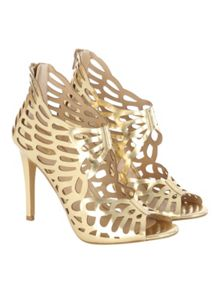 Jane Norman Gold Metallic Cut Out Cage Heel