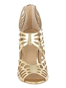 Gold Metallic Cut Out Cage Heel