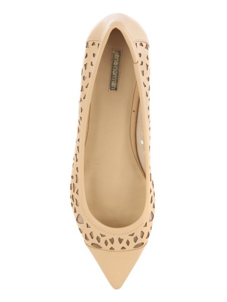 Jane Norman Natural Flat Point Cut Out Shoe
