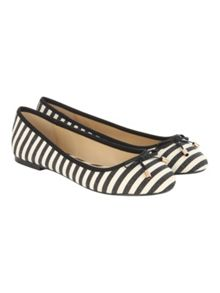 Black Round Mono Stripe Flat Shoe