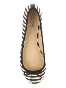 Jane Norman Black Round Mono Stripe Flat Shoe