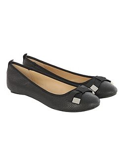Black Bow Detail Round Flat Shoe