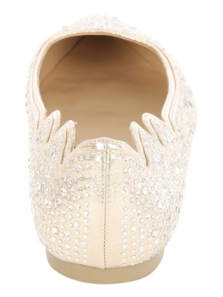 Jane Norman Gold Flat Point Diamante Shoe