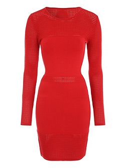 Red Fit and Flare Mesh Jumper Dress