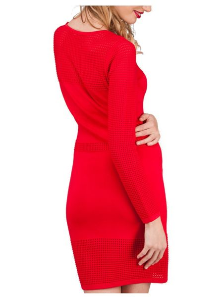 Jane Norman Red Fit and Flare Mesh Jumper Dress