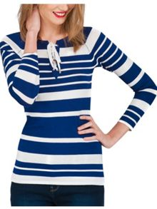 Jane Norman Dark Blue Stripe Lace Up Neck Jumper