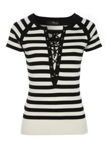 Jane Norman Striped Lace Up Short Sleeve Top
