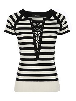 Striped Lace Up Short Sleeve Top