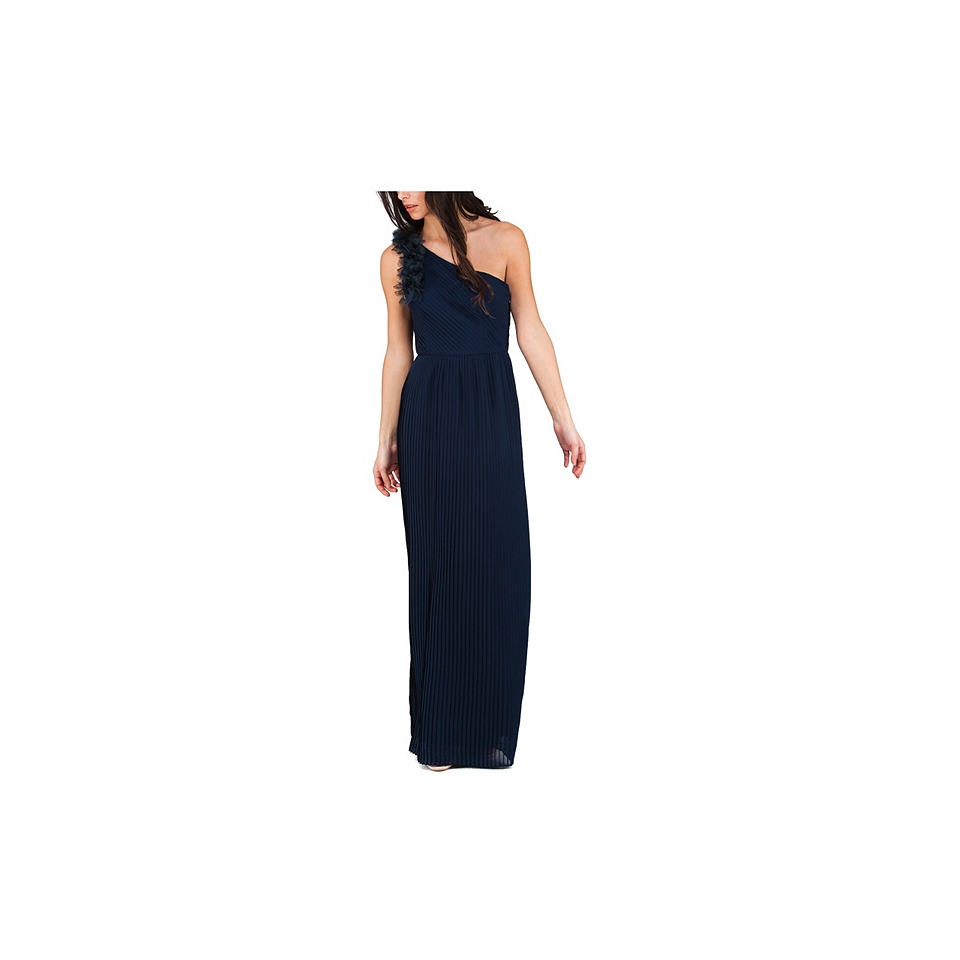 Jane Norman One Shoulder Flower Maxi Dress Navy On Popscreen