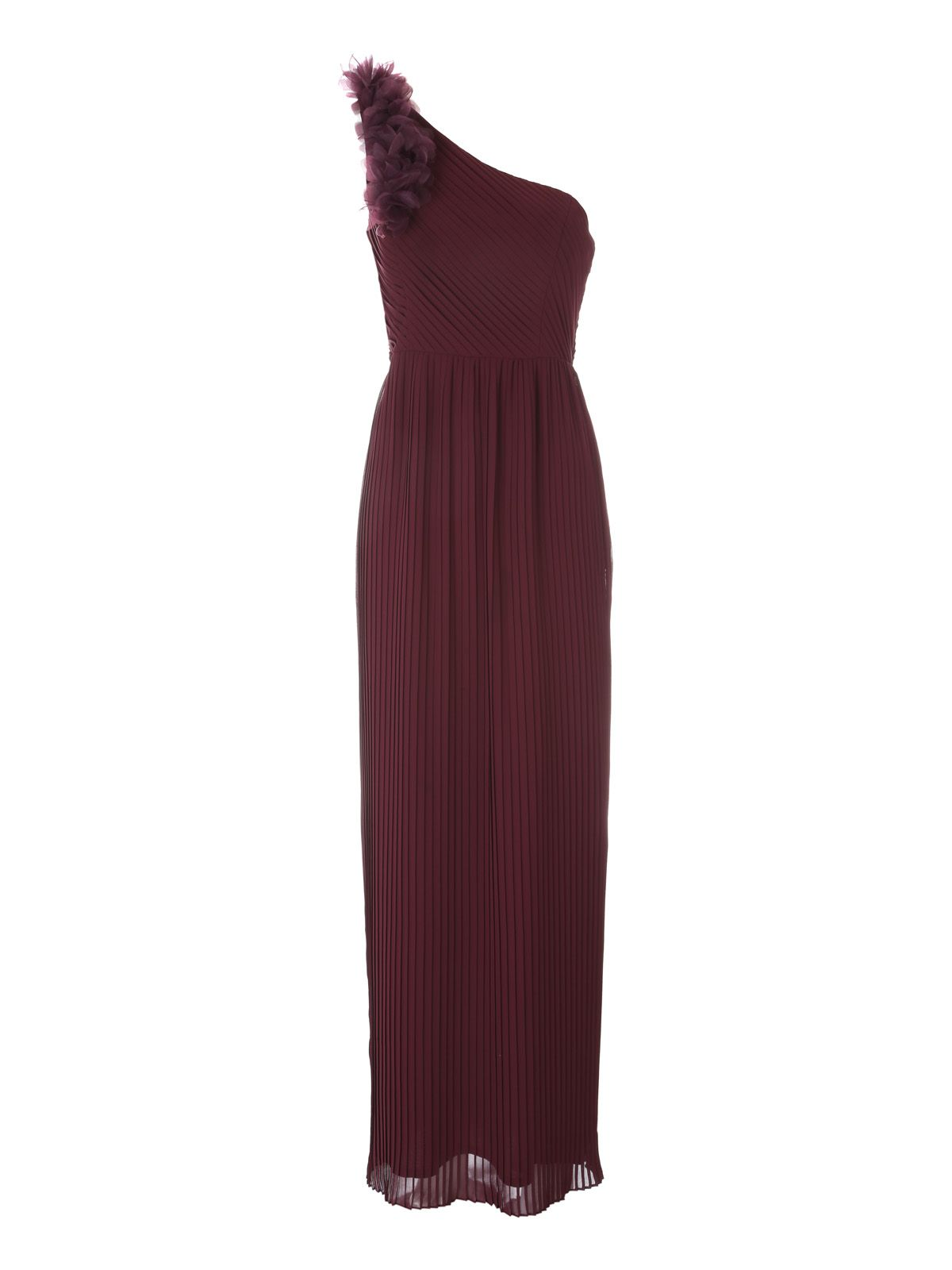 Jane Norman One Shoulder Flower Maxi Dress, Plum