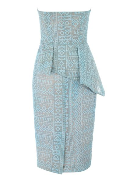 Jane Norman Bonded Lace Peplum Strapless Midi Dress