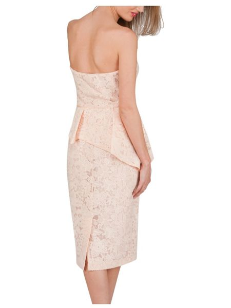 Jane Norman Lace Strapless Peplum Dress