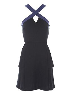 Ponte Halter Peplum Dress