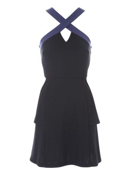 Jane Norman Ponte Halter Peplum Dress