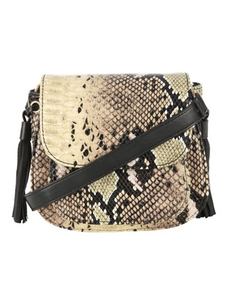 Jane Norman Snake Skin Detailed Tassel Bag