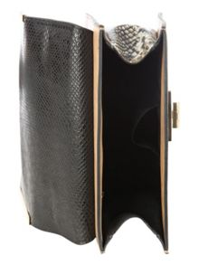 Jane Norman Black Across Body Gold Metal Lock Bag