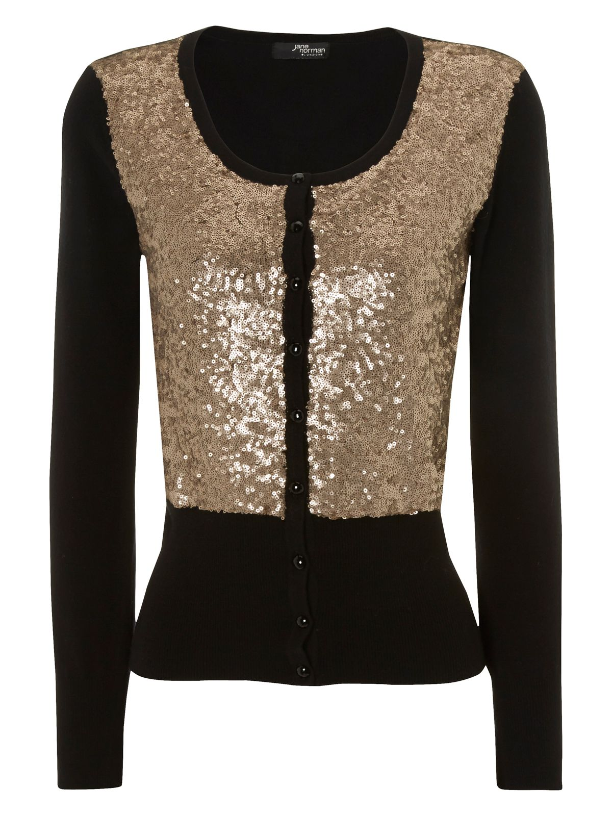 Sequin scoop neck cardigan