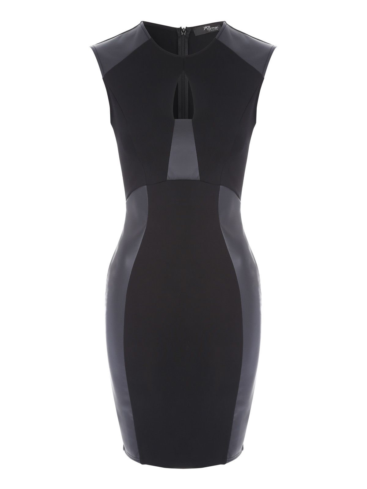Jane Norman PU Panel Dress, Black