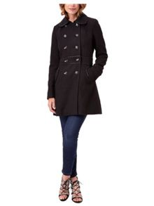 Jane Norman Black Fit and Flare Coat