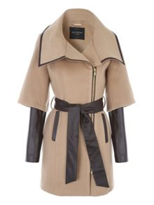 Jane Norman Tan PU Zip Detail Coat
