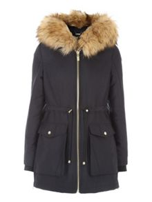 Jane Norman Double Zip Faux Fur Hooded Parka