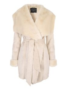 Jane Norman Beige Luxe Faux Shearling Wrap Coat