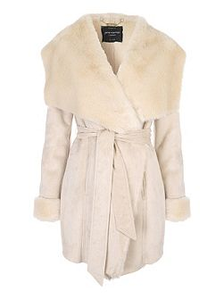 Beige Luxe Faux Shearling Wrap Coat