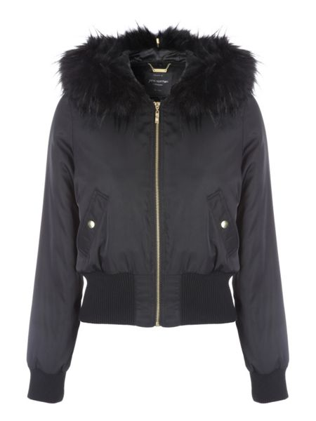 Jane Norman Black Split Hood Bomber