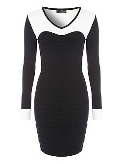Black and White Long Sleeved Bodycon Dress